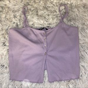 Purple button crop tank